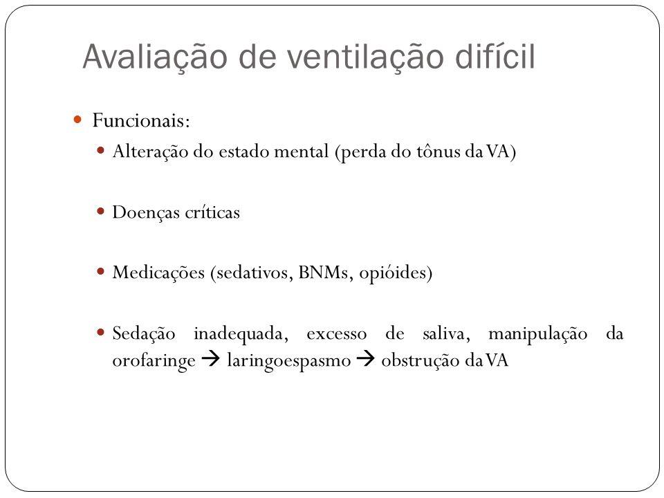 Avaliação de ventilação difícil Funcionais: Alteração do estado mental (perda do tônus da VA) Doenças críticas Medicações (sedativos, BNMs, opióides) Sedação inadequada, excesso de saliva, manipulação da orofaringe laringoespasmo obstrução da VA