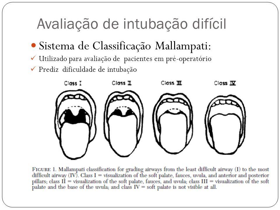 Avaliação de intubação difícil Sistema de Classificação Mallampati: Utilizado para avaliação de pacientes em pré-operatório Prediz dificuldade de intu