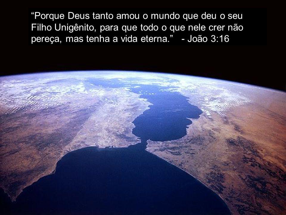 Porque Deus tanto amou o mundo que deu o seu Filho Unigênito, para que todo o que nele crer não pereça, mas tenha a vida eterna. - João 3:16