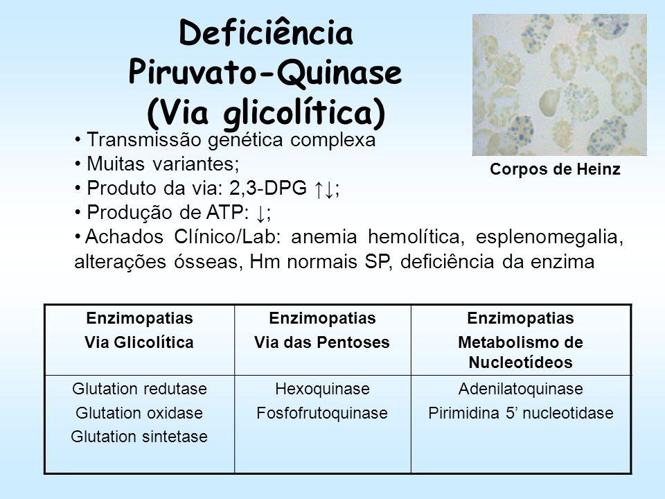 Laboratório: Anemia: normocítica e normocrômica; Corpos de Heinz (Supra-Vital); Teste de triagem: Brewer; Teste Confirmatório: Dosagem da enzima; Biol