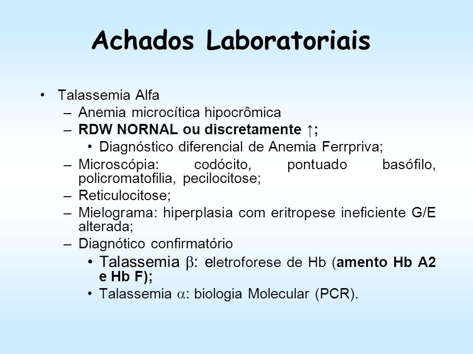 Talassemia Alfa DenominaçãoGenótipoAspectos Hematológicos Talassemia 0/1 Homozigoto (--/--) + 100% de Hb Barts ( 4 ) Síndrome da Hidropsia Fetal Heter