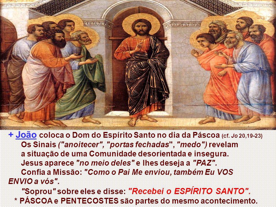 + João coloca o Dom do Espírito Santo no dia da Páscoa (cf.