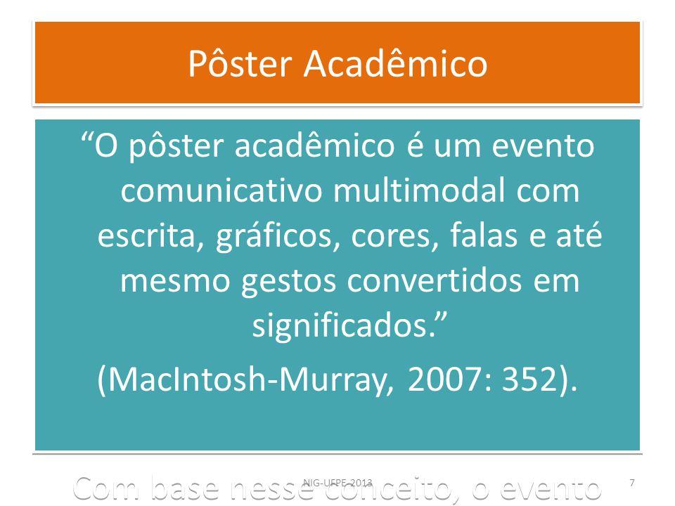 O pôster acadêmico é um evento comunicativo multimodal com escrita, gráficos, cores, falas e até mesmo gestos convertidos em significados. (MacIntosh-
