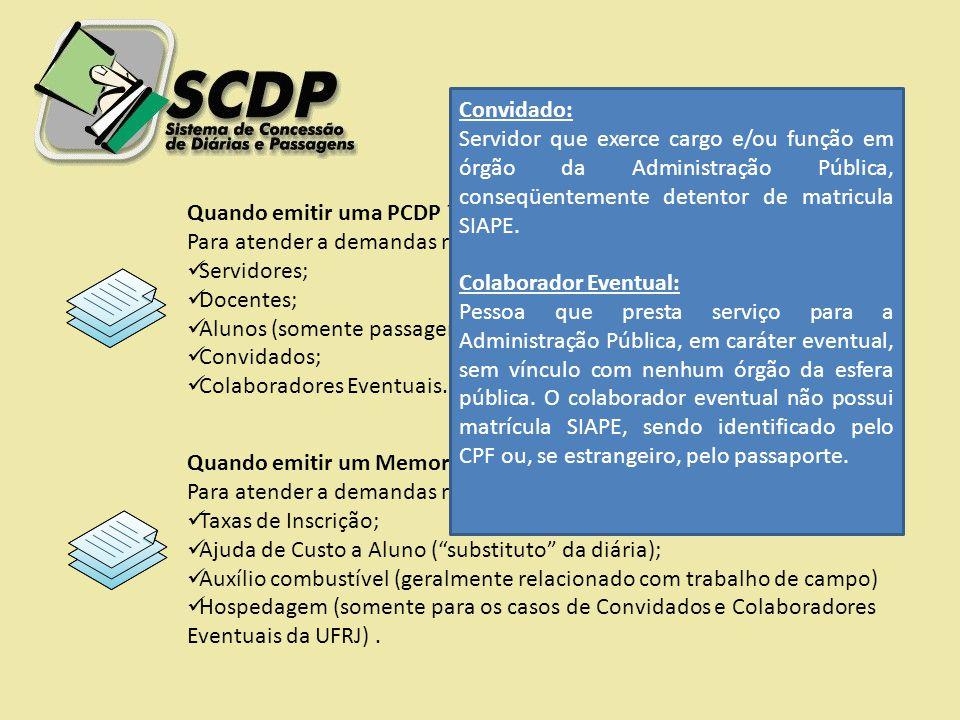 Quando emitir uma PCDP ? Para atender a demandas relacionadas com passagens e diárias de: Servidores; Docentes; Alunos (somente passagem); Convidados;