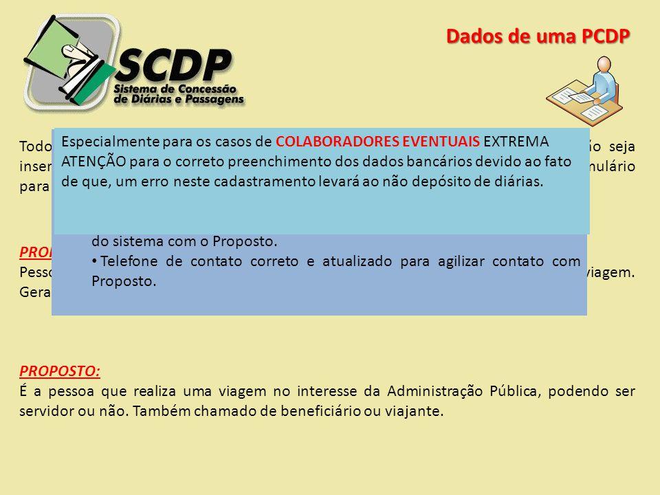 Dados de uma PCDP Todos os dados solicitados em uma PCPD são necessários para que a solicitação seja inserida no SCDP. Especial atenção deve ser dispe