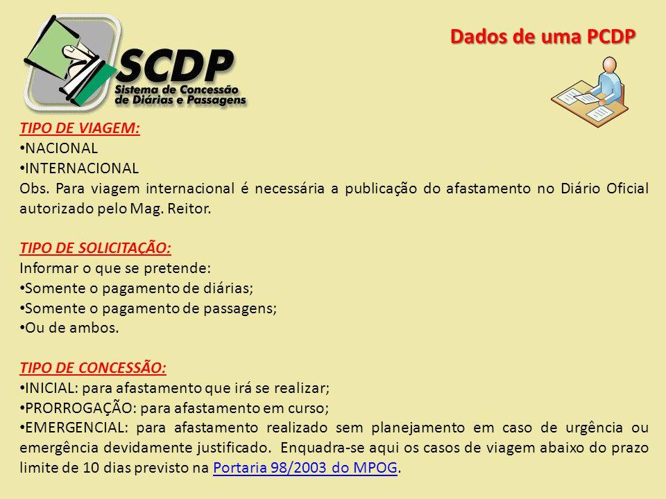 Dados de uma PCDP TIPO DE VIAGEM: NACIONAL INTERNACIONAL Obs. Para viagem internacional é necessária a publicação do afastamento no Diário Oficial aut