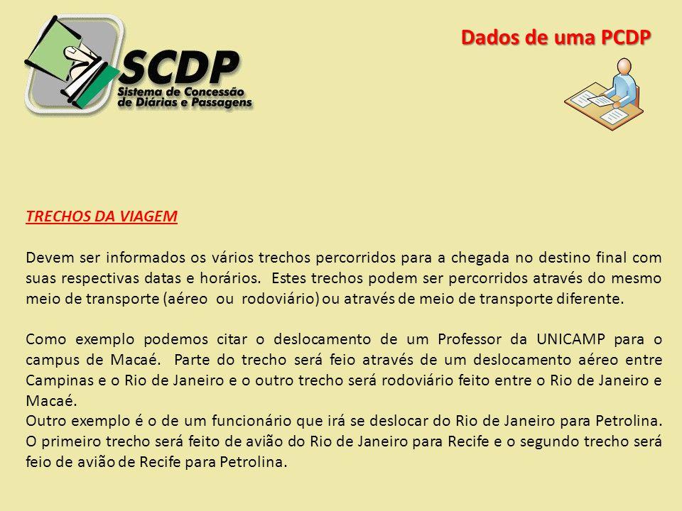 Dados de uma PCDP TRECHOS DA VIAGEM Devem ser informados os vários trechos percorridos para a chegada no destino final com suas respectivas datas e ho