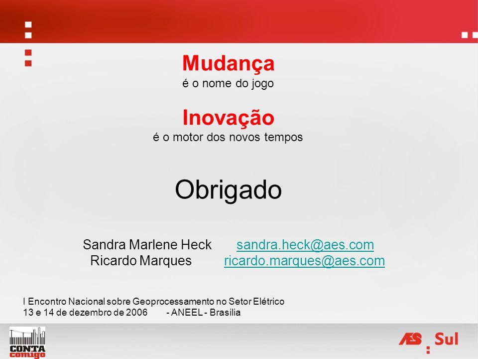 Mudança é o nome do jogo Inovação é o motor dos novos tempos Obrigado Sandra Marlene Heck sandra.heck@aes.comsandra.heck@aes.com Ricardo Marques ricar