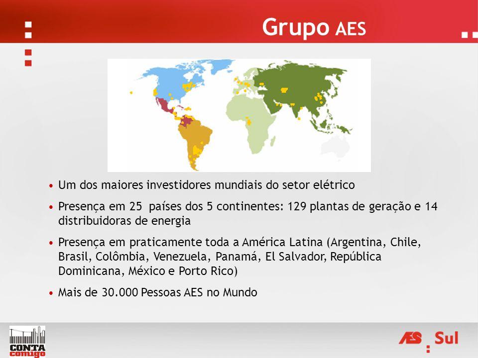 Grupo AES Um dos maiores investidores mundiais do setor elétrico Presença em 25 países dos 5 continentes: 129 plantas de geração e 14 distribuidoras d