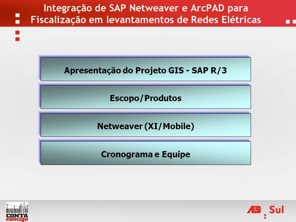 Integração de SAP Netweaver e ArcPAD para Fiscalização em levantamentos de Redes Elétricas Apresentação do Projeto GIS - SAP R/3 Escopo/Produtos Netwe