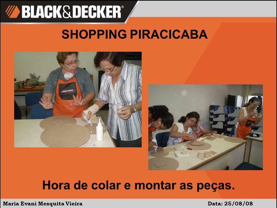 Maria Evani Mesquita Vieira Data: 25/08/08 SHOPPING PIRACICABA Hora de colar e montar as peças.