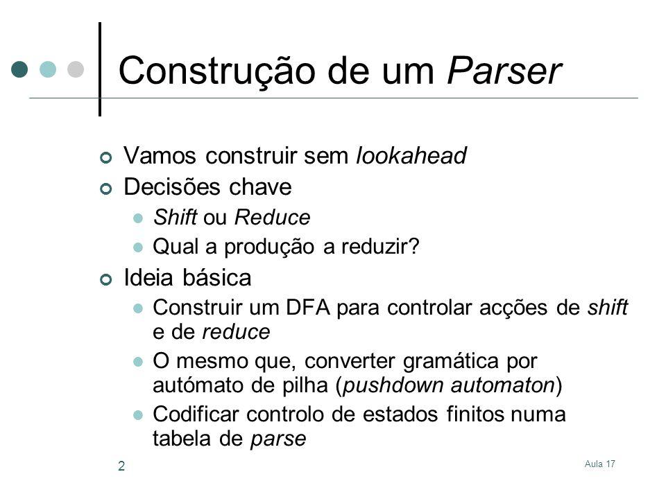Aula 17 2 Construção de um Parser Vamos construir sem lookahead Decisões chave Shift ou Reduce Qual a produção a reduzir.