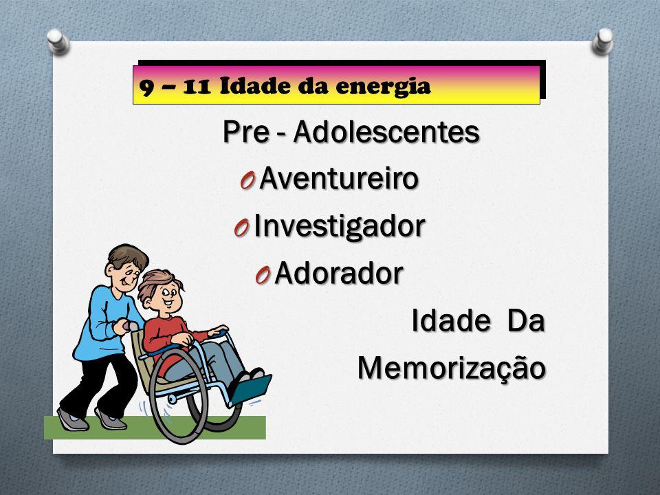 O Aventureiro O Investigador O Adorador Idade Da Memorização 9 – 11 Idade da energia Pre - Adolescentes