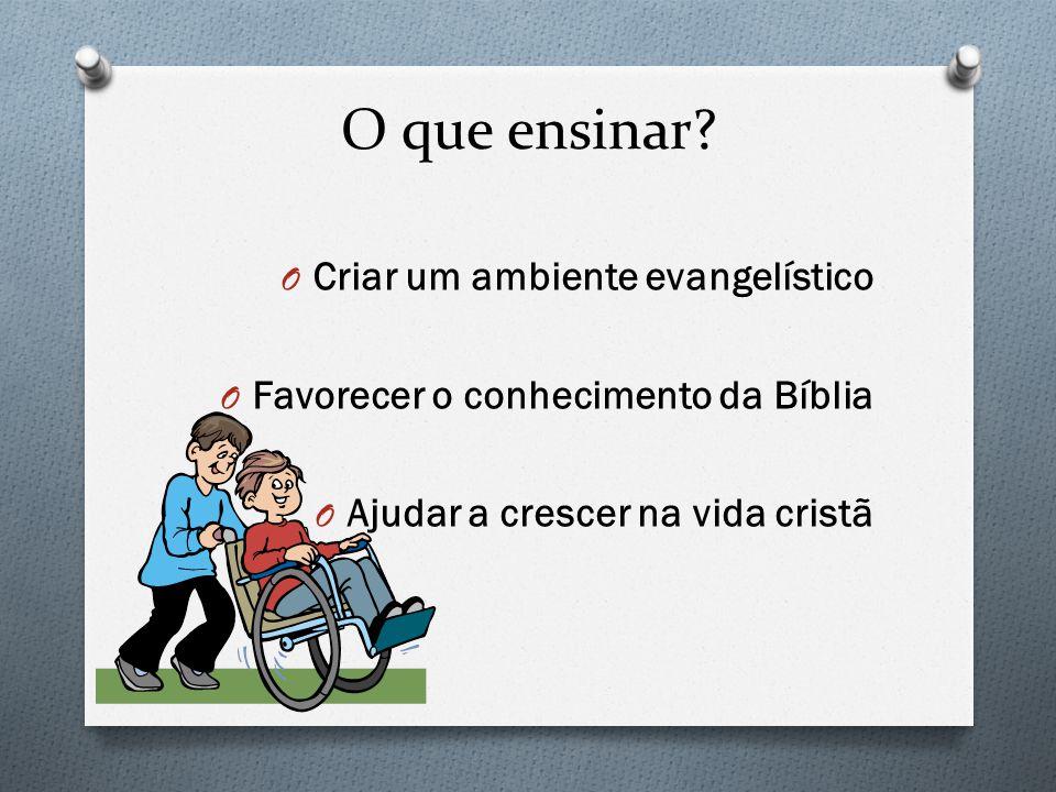 O que ensinar? O Criar um ambiente evangelístico O Favorecer o conhecimento da Bíblia O Ajudar a crescer na vida cristã