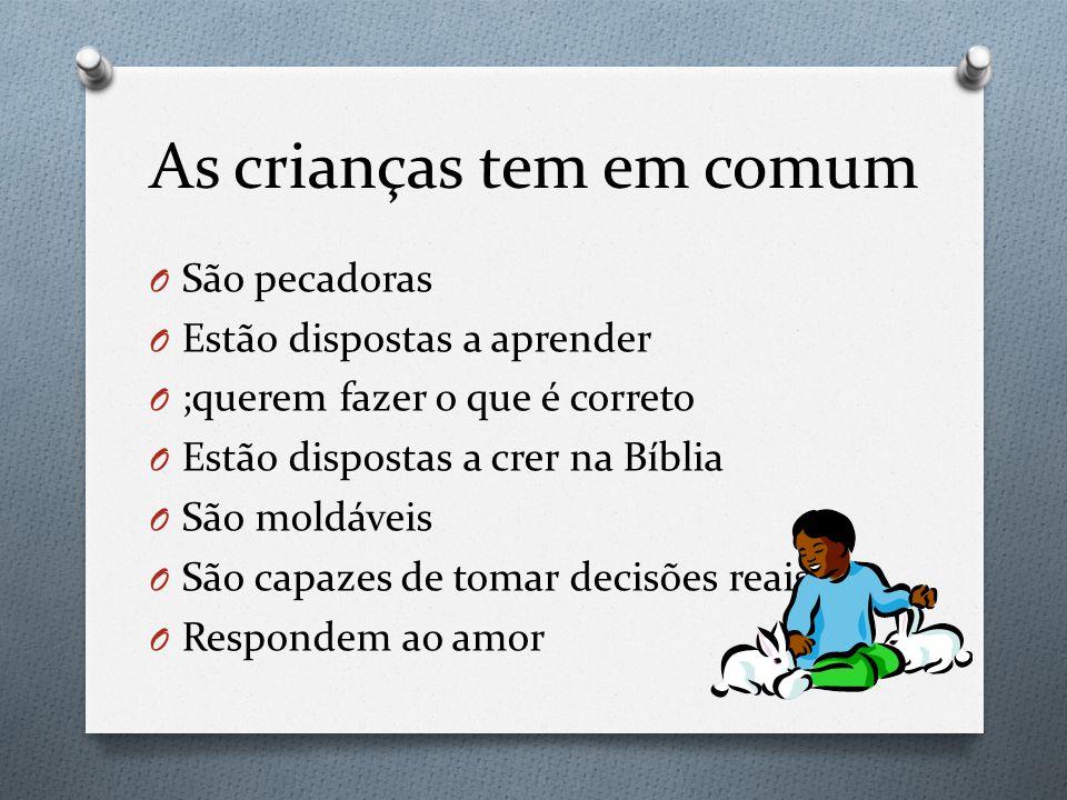 As crianças tem em comum O São pecadoras O Estão dispostas a aprender O ;querem fazer o que é correto O Estão dispostas a crer na Bíblia O São moldáve