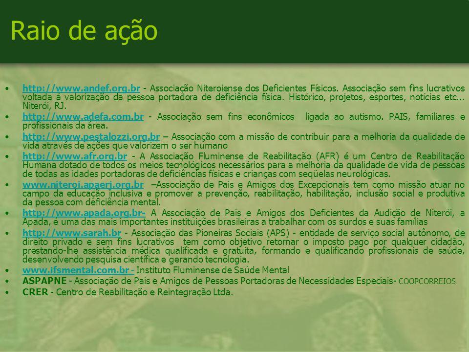 Raio de ação http://www.andef.org.br - Associação Niteroiense dos Deficientes Físicos.