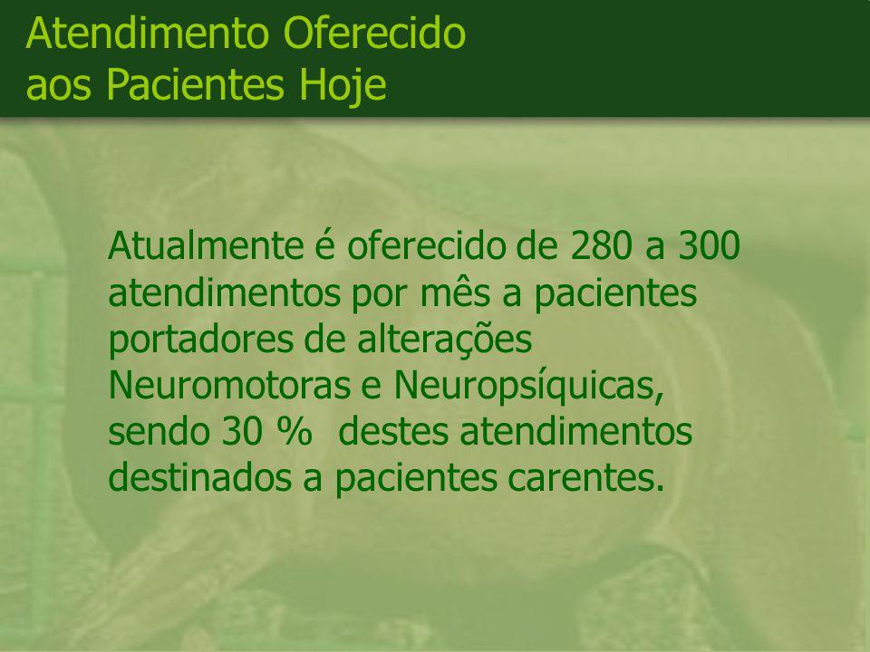 Atualmente é oferecido de 280 a 300 atendimentos por mês a pacientes portadores de alterações Neuromotoras e Neuropsíquicas, sendo 30 % destes atendimentos destinados a pacientes carentes.