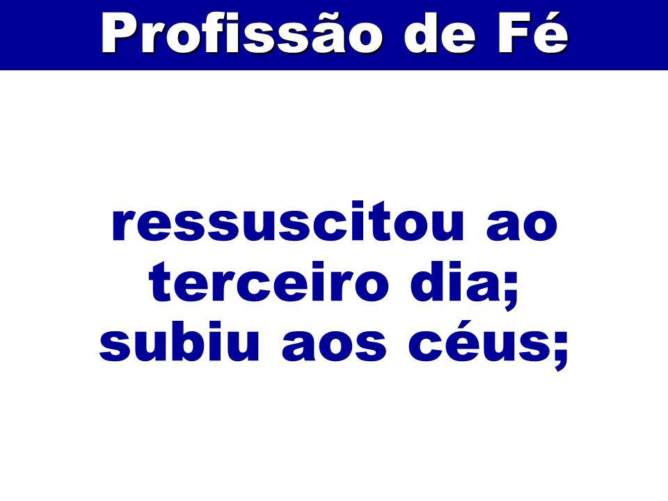 ressuscitou ao terceiro dia; subiu aos céus; Profissão de Fé