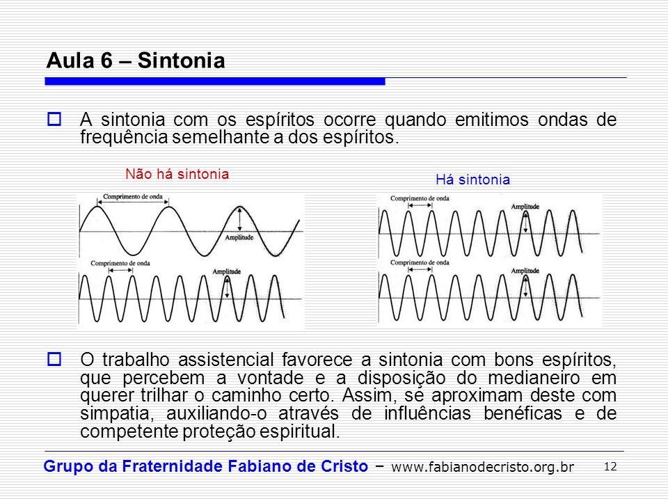 Grupo da Fraternidade Fabiano de Cristo – www.fabianodecristo.org.br 12 Aula 6 – Sintonia A sintonia com os espíritos ocorre quando emitimos ondas de