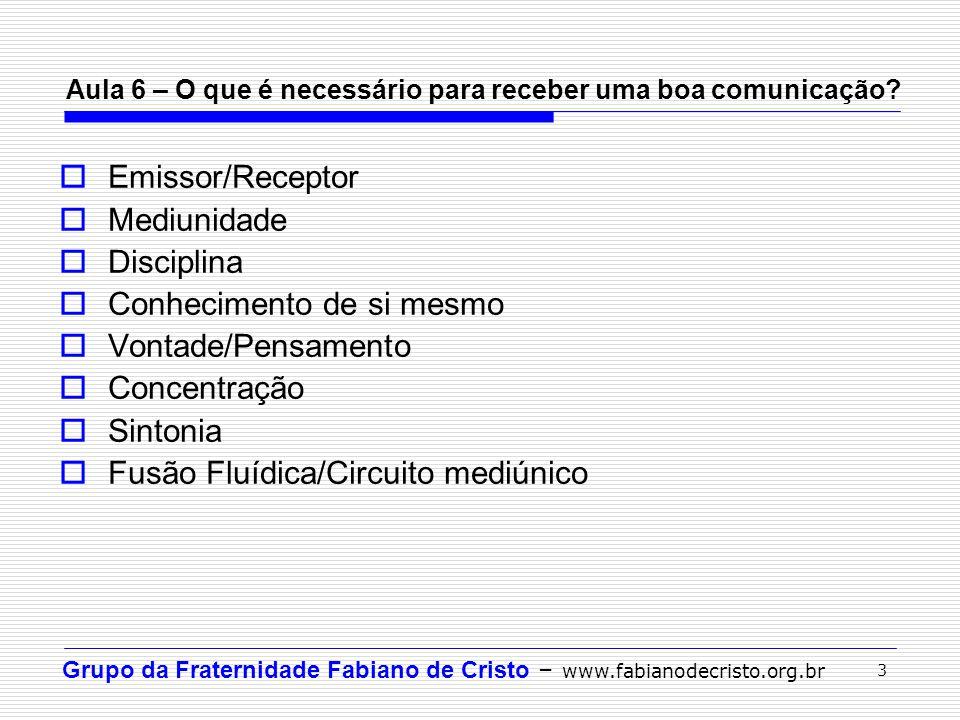 Grupo da Fraternidade Fabiano de Cristo – www.fabianodecristo.org.br 3 Aula 6 – O que é necessário para receber uma boa comunicação? Emissor/Receptor