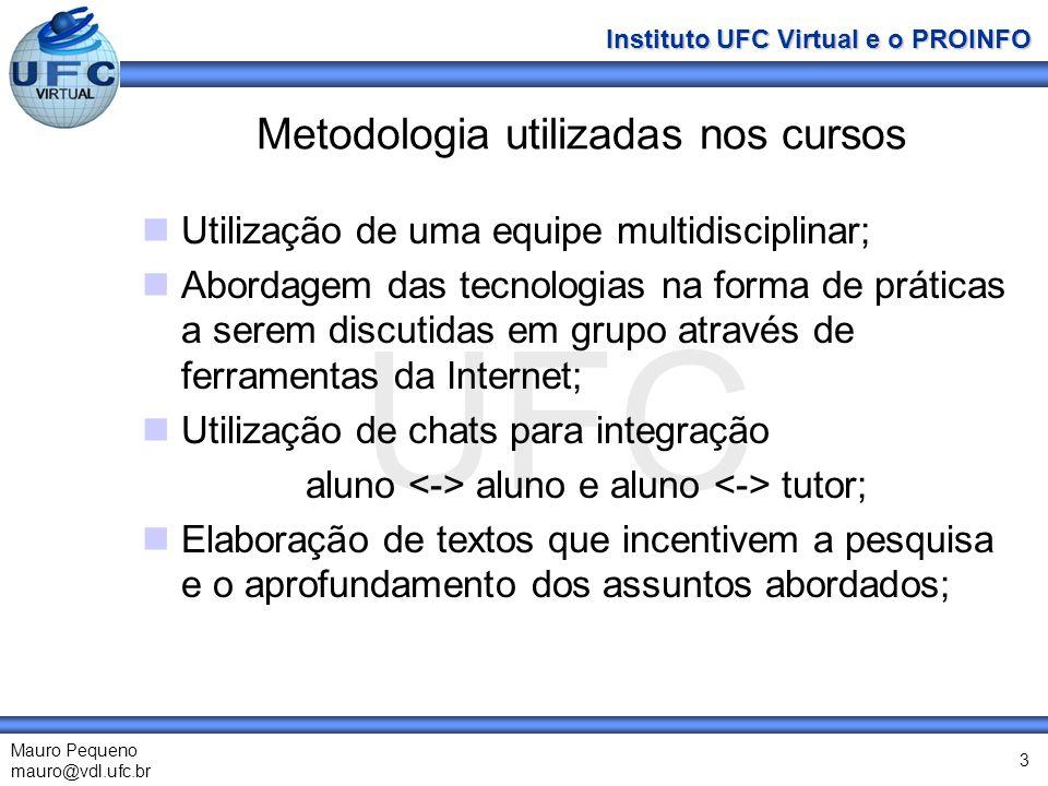 UFC Mauro Pequeno mauro@vdl.ufc.br Instituto UFC Virtual e o PROINFO 3 Metodologia utilizadas nos cursos Utilização de uma equipe multidisciplinar; Ab