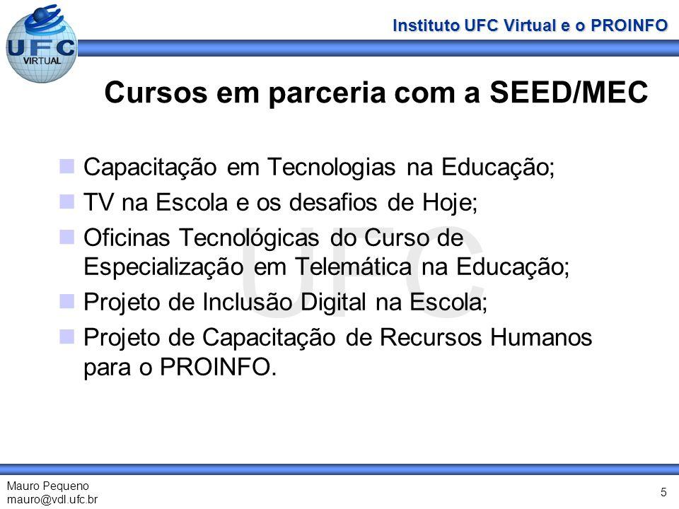 UFC Mauro Pequeno mauro@vdl.ufc.br Instituto UFC Virtual e o PROINFO 5 Cursos em parceria com a SEED/MEC Capacitação em Tecnologias na Educação; TV na Escola e os desafios de Hoje; Oficinas Tecnológicas do Curso de Especialização em Telemática na Educação; Projeto de Inclusão Digital na Escola; Projeto de Capacitação de Recursos Humanos para o PROINFO.