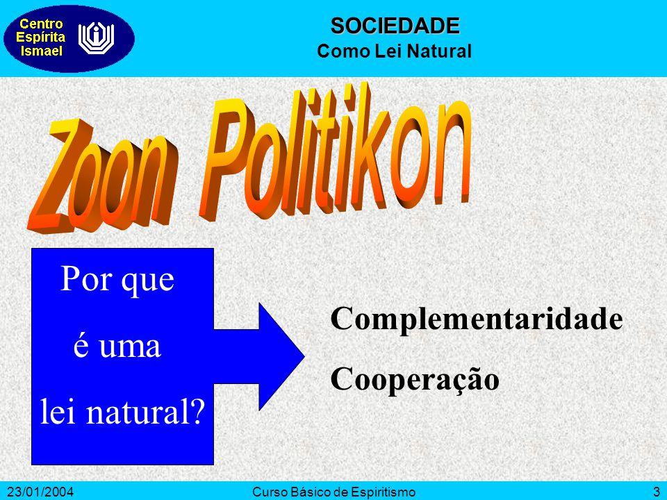 23/01/2004Curso Básico de Espiritismo3 Complementaridade Cooperação Por que é uma lei natural? SOCIEDADE Como Lei Natural