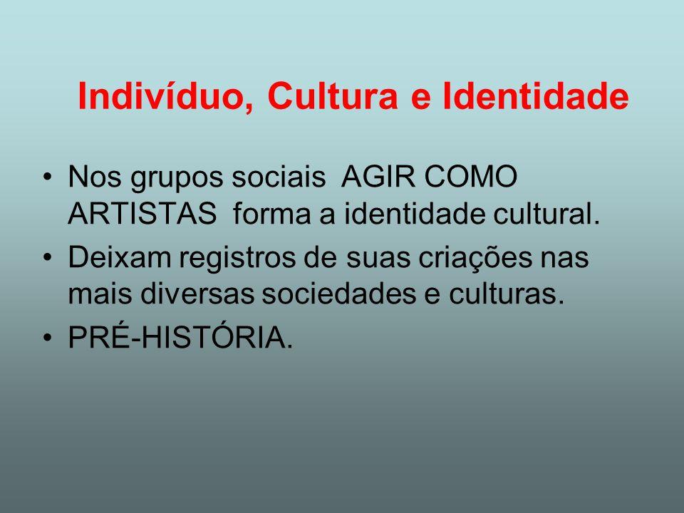 Indivíduo, Cultura e Identidade Nos grupos sociais AGIR COMO ARTISTAS forma a identidade cultural. Deixam registros de suas criações nas mais diversas