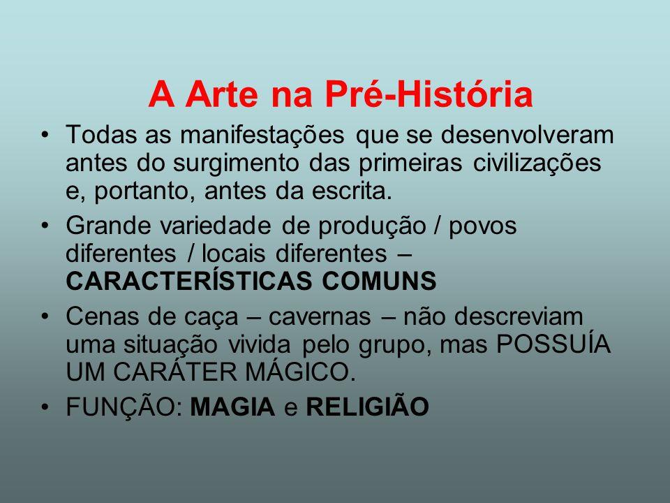 A Arte na Pré-História Todas as manifestações que se desenvolveram antes do surgimento das primeiras civilizações e, portanto, antes da escrita. Grand