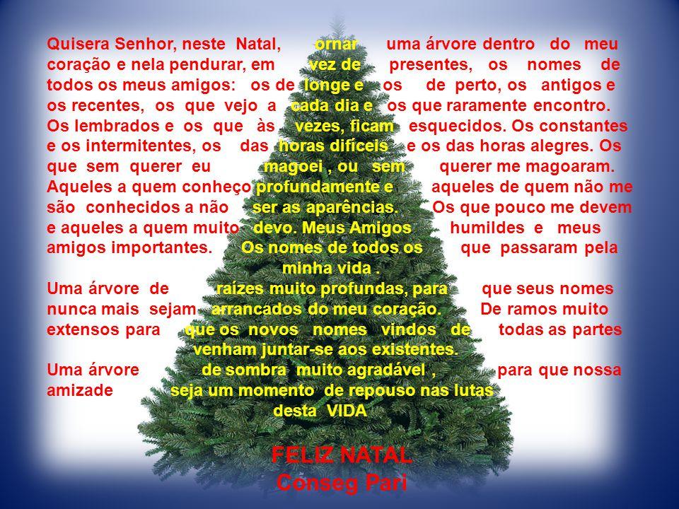 Quisera Senhor, neste Natal, ornar uma árvore dentro do meu coração e nela pendurar, em vez de presentes, os nomes de todos os meus amigos: os de longe e os de perto, os antigos e os recentes, os que vejo a cada dia e os que raramente encontro.
