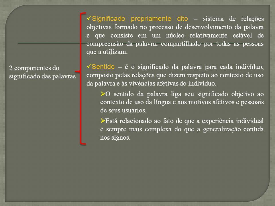 2 componentes do significado das palavras Significado propriamente dito – sistema de relações objetivas formado no processo de desenvolvimento da pala