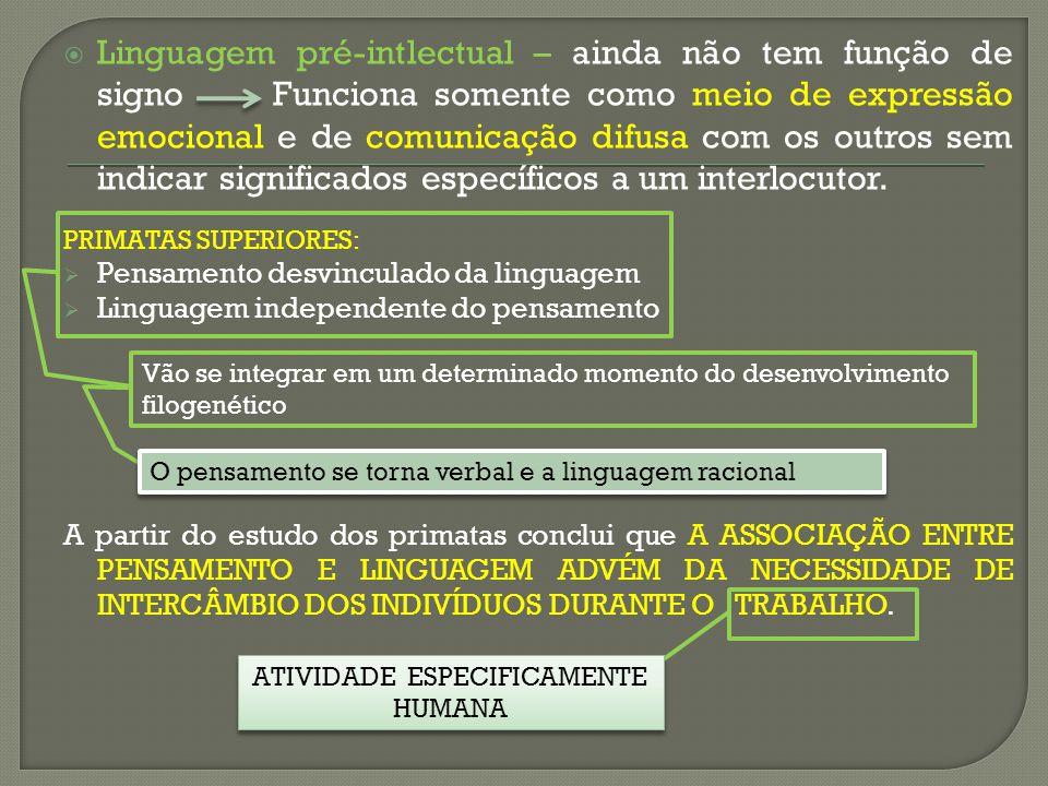 Linguagem pré-intlectual – ainda não tem função de signoFunciona somente como meio de expressão emocional e de comunicação difusa com os outros sem in
