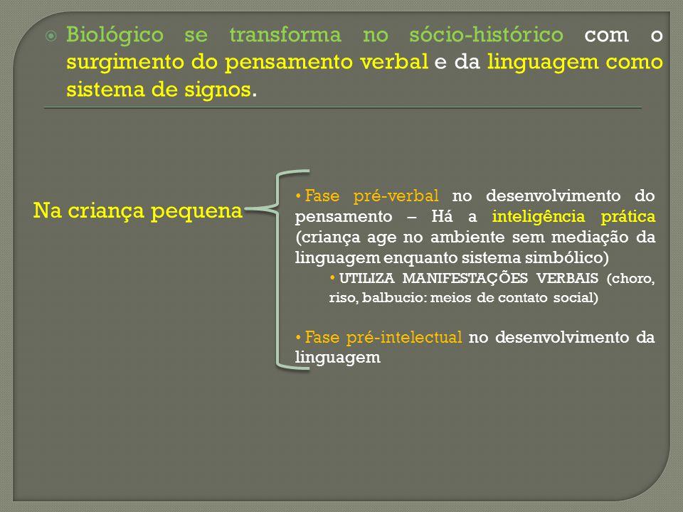 Biológico se transforma no sócio-histórico com o surgimento do pensamento verbal e da linguagem como sistema de signos. Na criança pequena Fase pré-ve