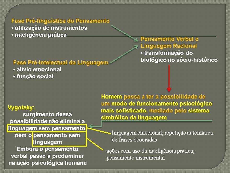 Fase Pré-linguística do Pensamento utilização de instrumentos inteligência prática Fase Pré-intelectual da Linguagem alívio emocional função social Pe