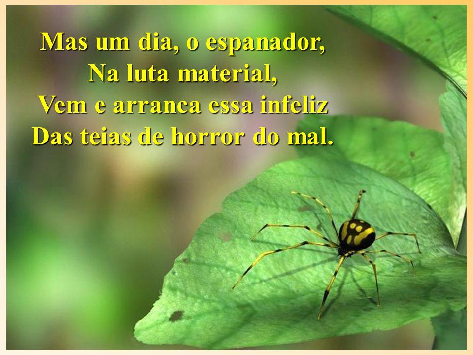 Satisfeita, a aranha escura. Prossegue na horrenda lida, Nos venenos que segrega Traz a morte e suga a vida.