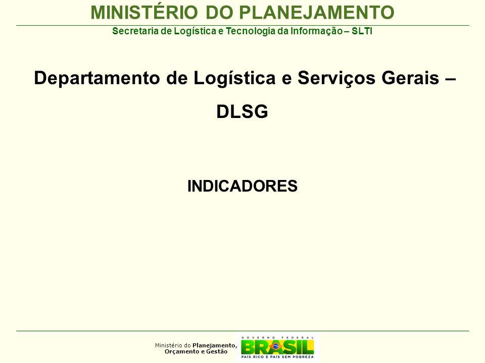MINISTÉRIO DO PLANEJAMENTO Ministério do Planejamento, Orçamento e Gestão Secretaria de Logística e Tecnologia da Informação – SLTI Departamento de Logística e Serviços Gerais – DLSG INDICADORES 2012
