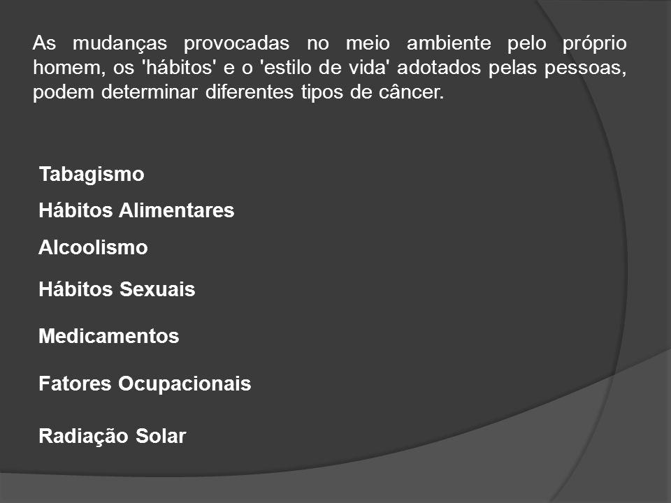 As mudanças provocadas no meio ambiente pelo próprio homem, os hábitos e o estilo de vida adotados pelas pessoas, podem determinar diferentes tipos de câncer.