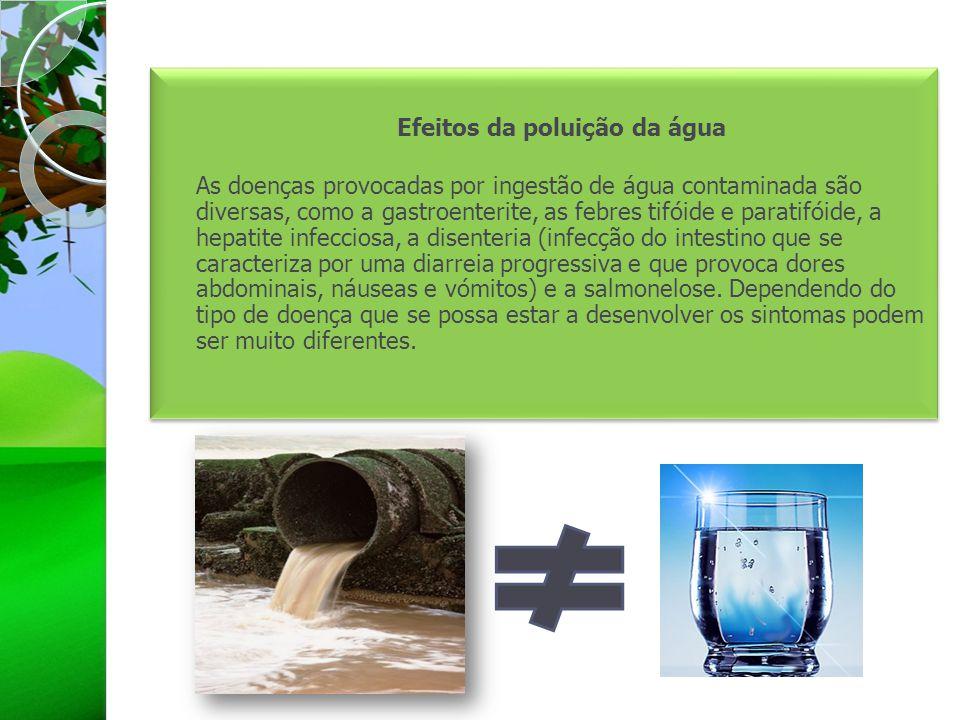 Efeitos da poluição da água As doenças provocadas por ingestão de água contaminada são diversas, como a gastroenterite, as febres tifóide e paratifóid