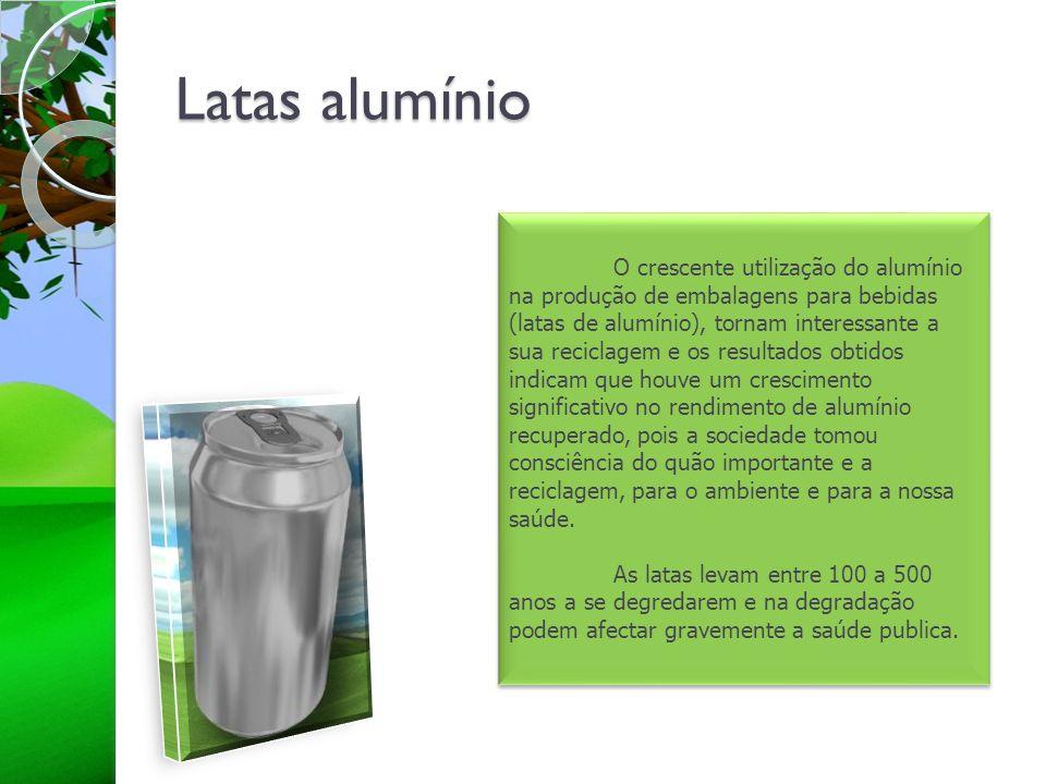 Latas alumínio O crescente utilização do alumínio na produção de embalagens para bebidas (latas de alumínio), tornam interessante a sua reciclagem e o