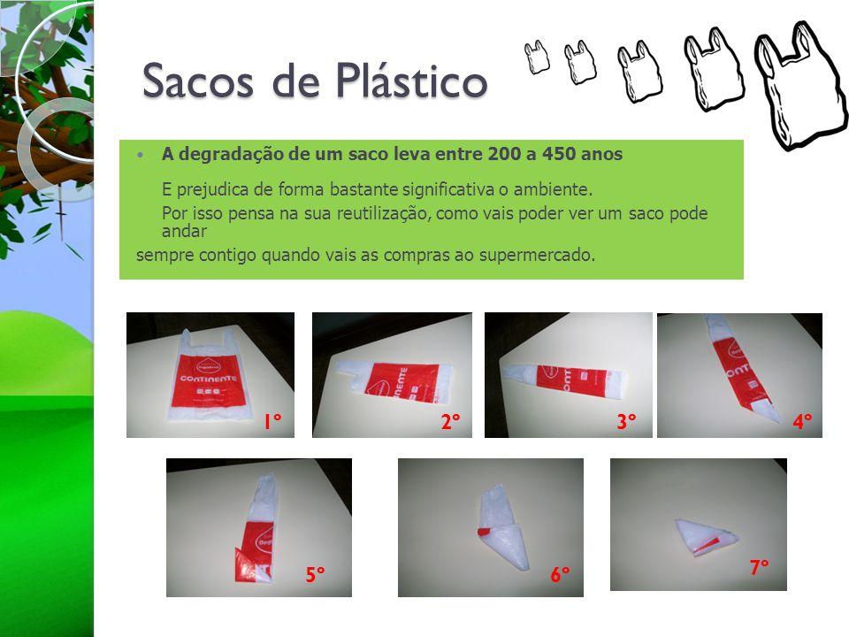 Sacos de Plástico A degradação de um saco leva entre 200 a 450 anos E prejudica de forma bastante significativa o ambiente. Por isso pensa na sua reut