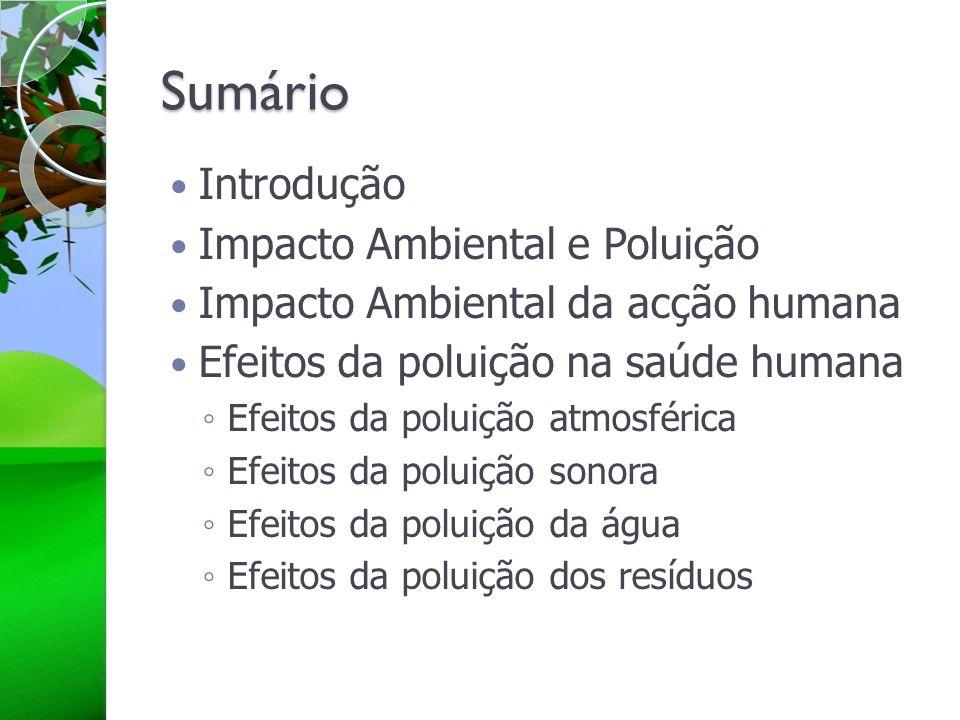 Sumário Introdução Impacto Ambiental e Poluição Impacto Ambiental da acção humana Efeitos da poluição na saúde humana Efeitos da poluição atmosférica