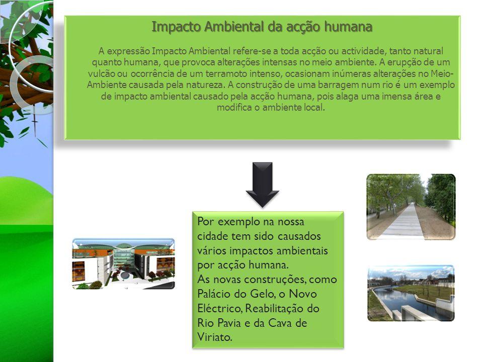 Impacto Ambiental da acção humana Impacto Ambiental da acção humana A expressão Impacto Ambiental refere-se a toda acção ou actividade, tanto natural