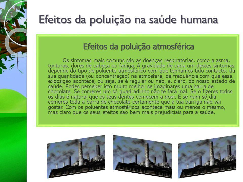 Efeitos da poluição na saúde humana Efeitos da poluição atmosférica Os sintomas mais comuns são as doenças respiratórias, como a asma, tonturas, dores