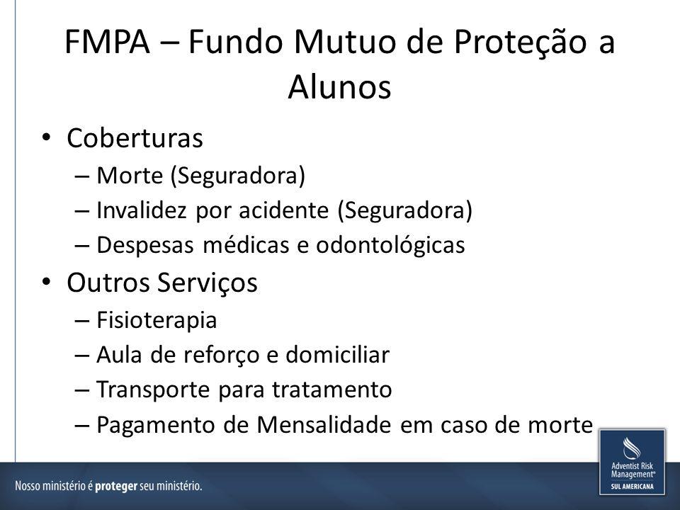 FMPA – Fundo Mutuo de Proteção a Alunos Coberturas – Morte (Seguradora) – Invalidez por acidente (Seguradora) – Despesas médicas e odontológicas Outro
