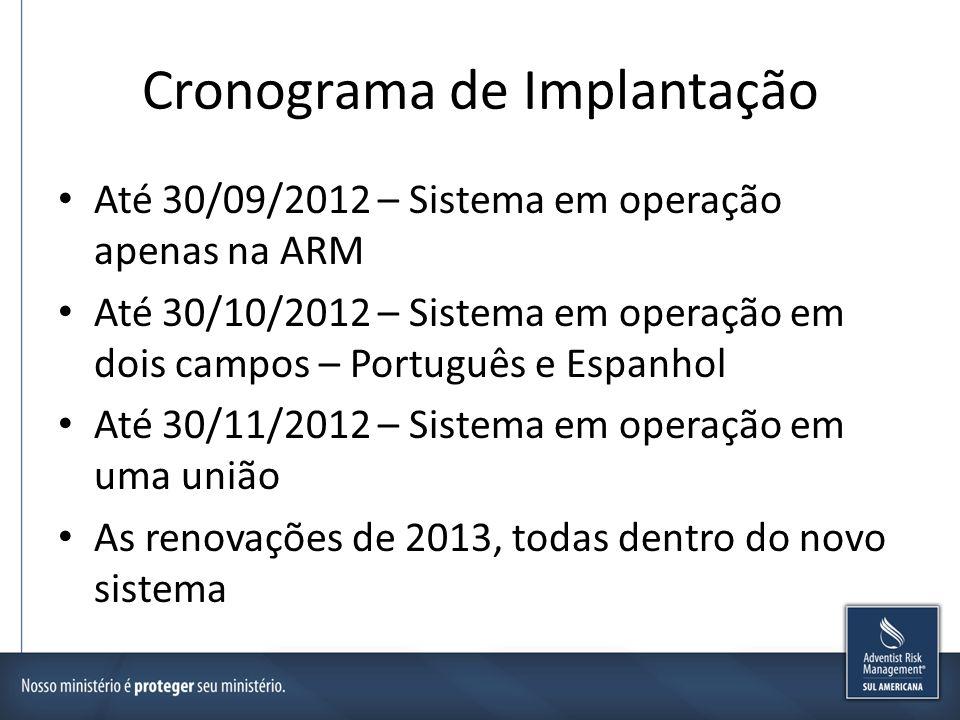 Cronograma de Implantação Até 30/09/2012 – Sistema em operação apenas na ARM Até 30/10/2012 – Sistema em operação em dois campos – Português e Espanho