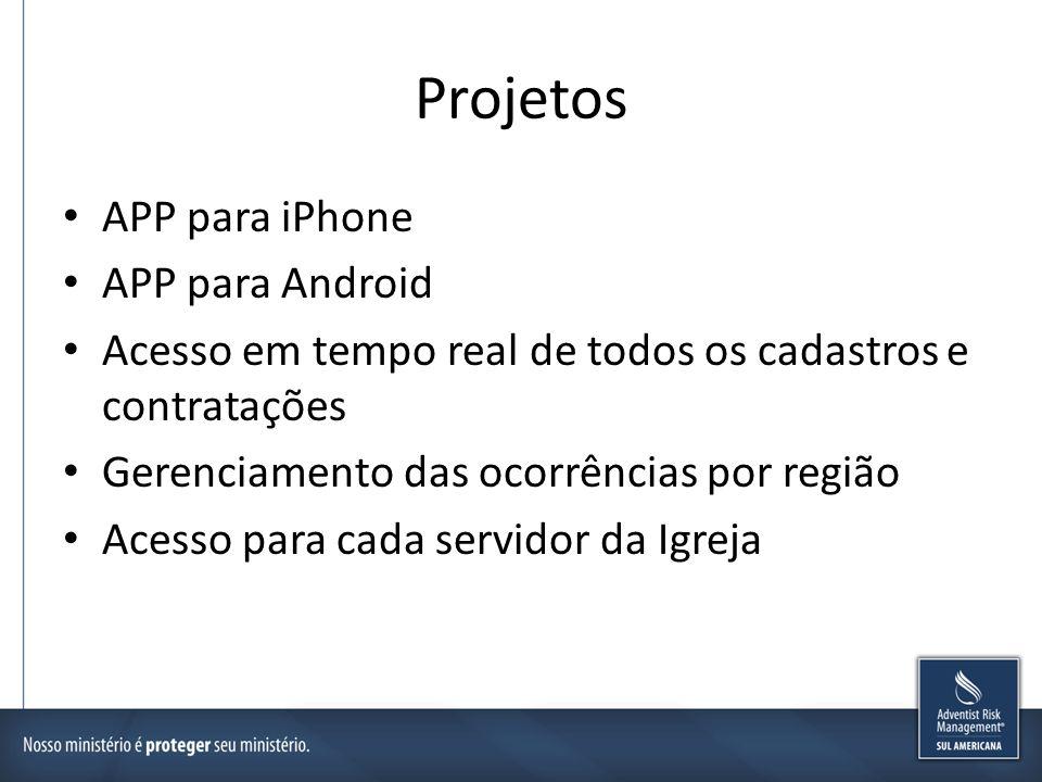 Projetos APP para iPhone APP para Android Acesso em tempo real de todos os cadastros e contratações Gerenciamento das ocorrências por região Acesso pa