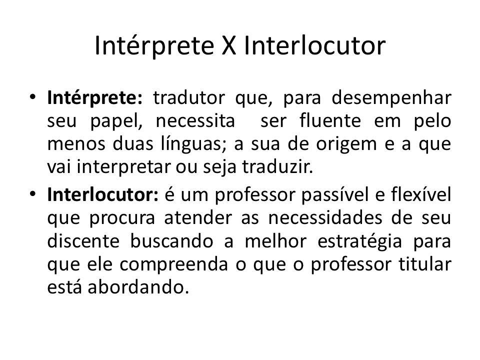 Intérprete X Interlocutor Intérprete: tradutor que, para desempenhar seu papel, necessita ser fluente em pelo menos duas línguas; a sua de origem e a