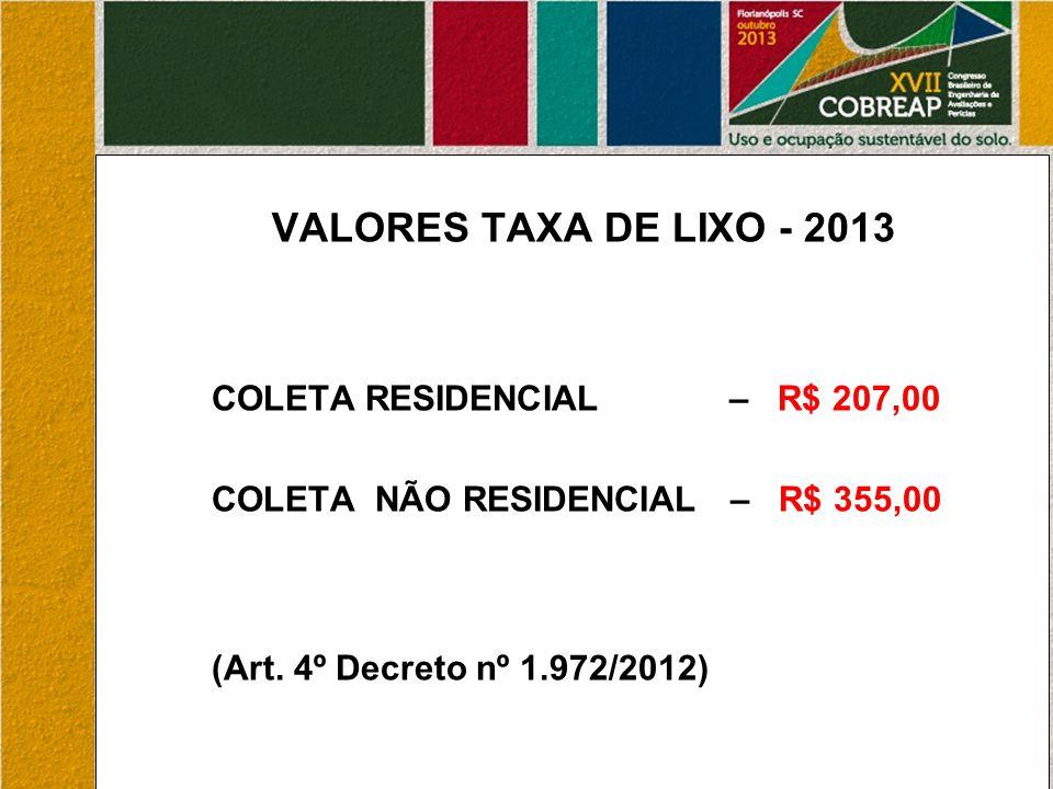 VALORES TAXA DE LIXO - 2013 COLETA RESIDENCIAL – R$ 207,00 COLETA NÃO RESIDENCIAL – R$ 355,00 (Art.