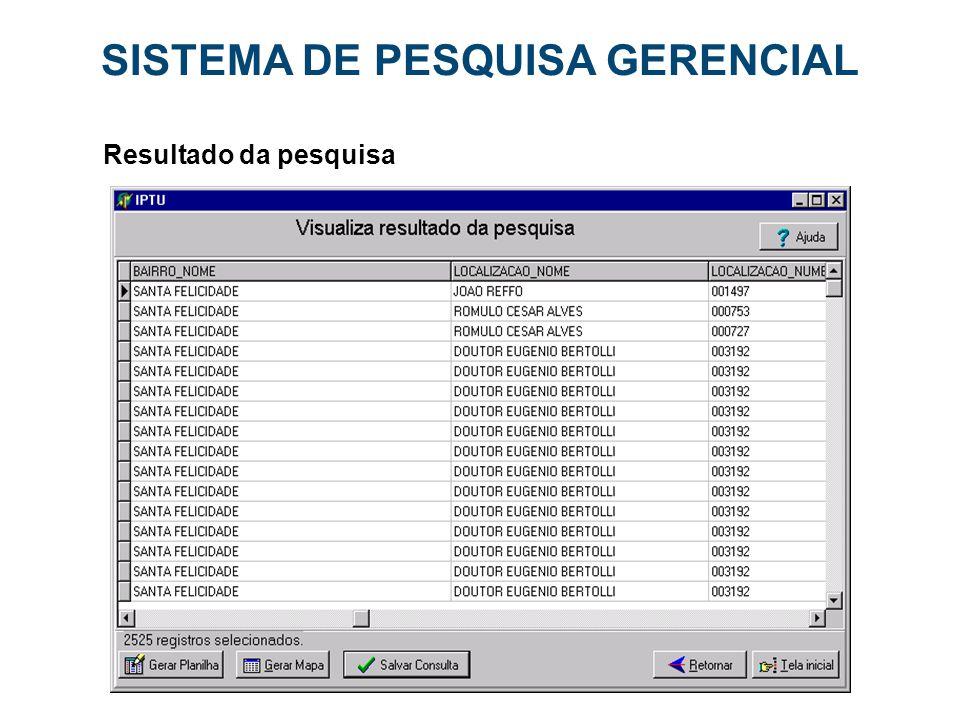 SISTEMA DE PESQUISA GERENCIAL Resultado da pesquisa