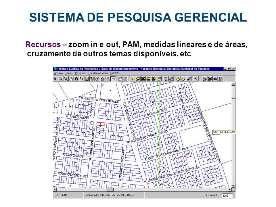 SISTEMA DE PESQUISA GERENCIAL Recursos – zoom in e out, PAM, medidas lineares e de áreas, cruzamento de outros temas disponíveis, etc